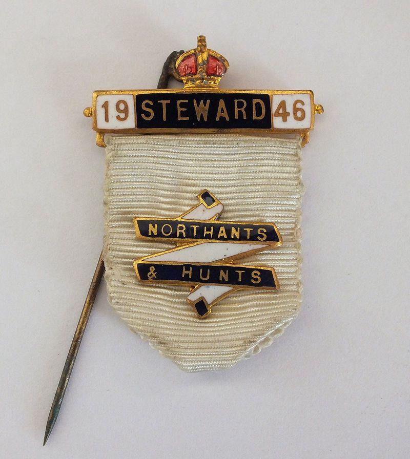 Masonic Steward Enamel Ribbon Badge, Northants & Hunts District, 1946