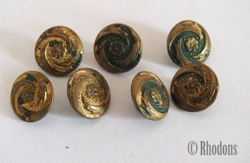 Miniature Early 1900s Gilt Faced Tin Buttons, Lot of 7 Pieces.