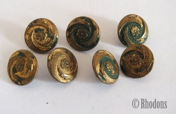 Buttons, Miniature Gilt Faced Tin, Lot of7, Early 1900s, For Spares, Repairs, Crafts