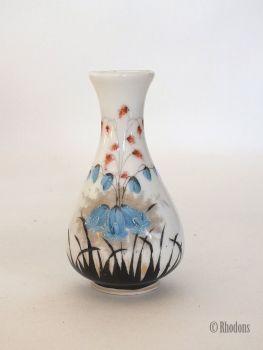 "Handpainted Bud Vase, Bluebells, 4"" Tall, Early 1900s"