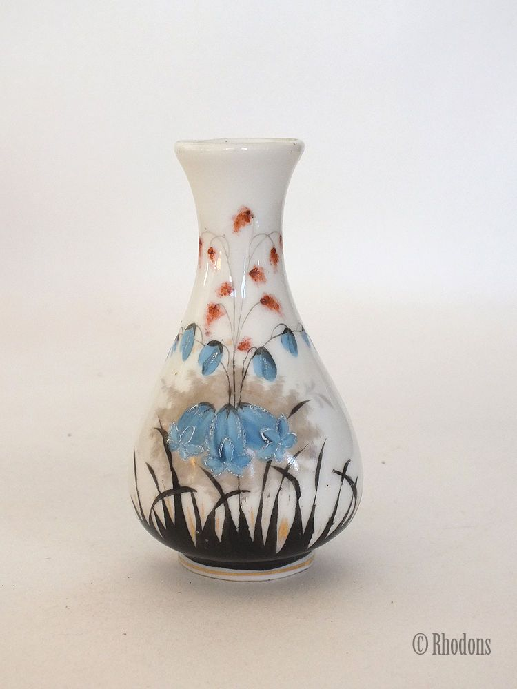 "Handpainted Bud Vase, Bluebells, 4"" Tall, Early 1900s"