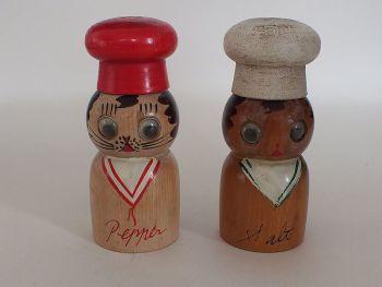 Wooden Salt & Pepper Shakers / Cruet Set, Chefs