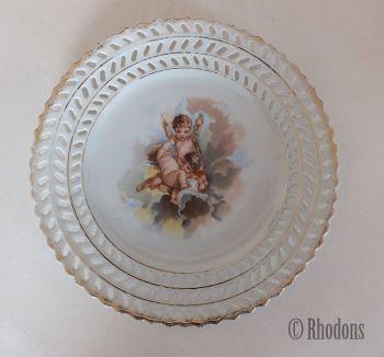 Victorian Ribbon Plate, Cherubs Transfer Print