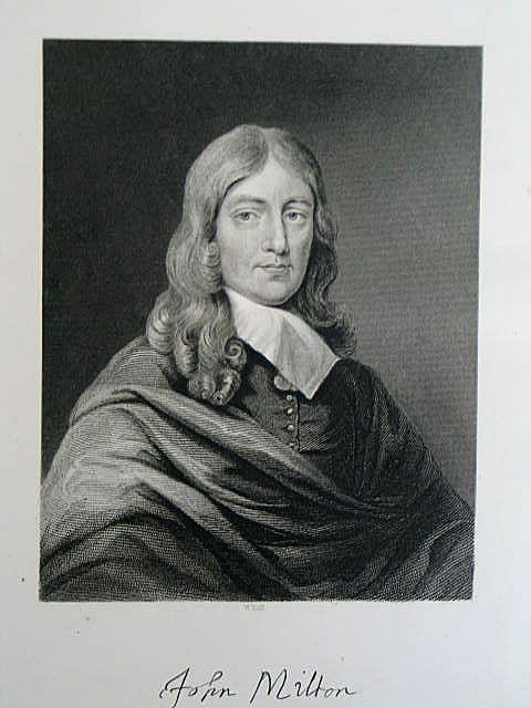 John Milton by W Hall. Victorian Portrait Print