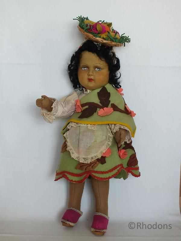 Mariposa Felt Cloth Doll, Circa 1930s