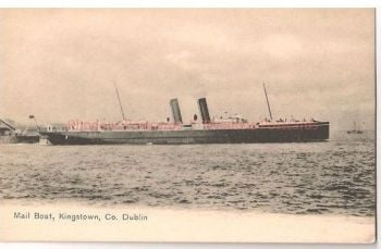 Mail Boat Kingstown Co. Dublin. Early 1900s Shipping Postcard