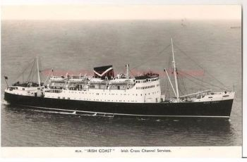 MV Irish Coast - Irish Cross Channel Services - B&W RP Shipping Postcard