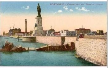 Egypt: Port Said - General View & Lesseps Statue - Early 1900s Postcard