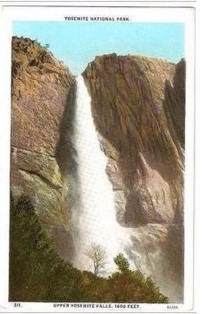 USA: California. Yosemite National Park, Upper Yosemite Falls - 1920/30s Postcard