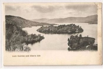 Scotland: Stirlingshire, Trossachs. Loch Katrine and Ellens Isle. Early 1900s Postcard