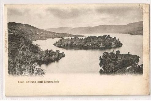 Scotland: Stirlingshire, Trossachs. Loch Katrine and Ellens Isle. Early 1900s Postcard