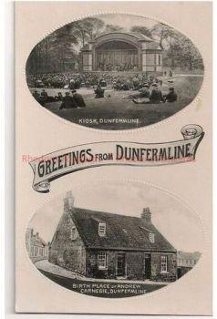 Scotland: Kingdom Of Fife: Greetings From Dunfermline, Scotland. Vintage Multiview - Kiosk & Carnegie Birthplace.