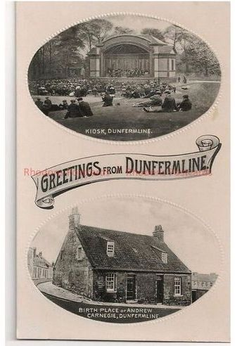 Scotland: Kingdom Of Fife: Greetings From Dunfermline, Scotland. Vintage Multiview - Kiosk & Carnegie Birthplace.