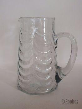 Antique Tall Glass Water Jug / Lemonade Jug, Early 1900s