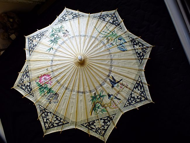 Chinese Bamboo Parasol, Star Shape With Painted Bugs, Birds, Butterflies