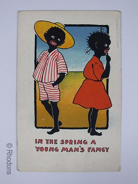 Black Americana Postcard, 'In The Spring A Young Mans Fancy', Valentines Coon Series