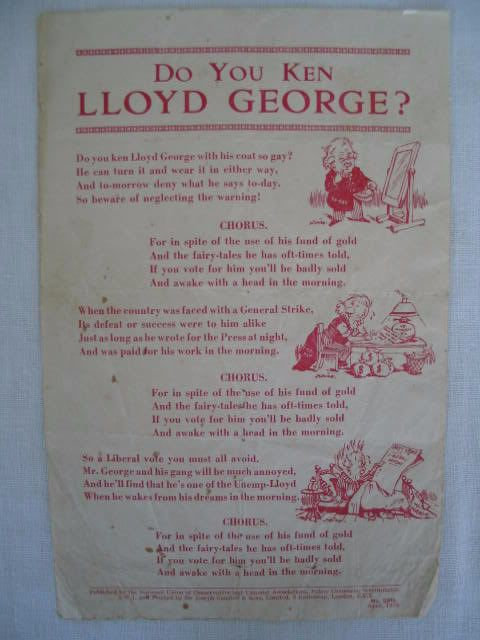 David Lloyd George 1920s Historical Political Fly Sheet: Do You Ken Lloyd George. Number 2915