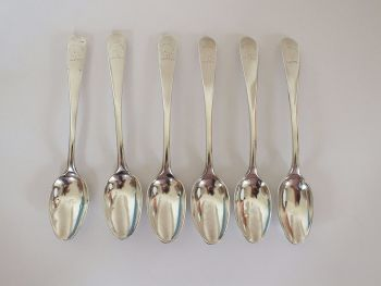 Scottish Provincial Silver Teaspoons x6, 18th Century, William Davie, Edinburgh (Working 1740-1788)