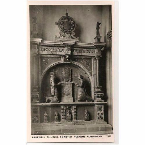 England: Derbyshire. Bakewell Church, Dorothy Vernon Monument -1960s RP Postcard