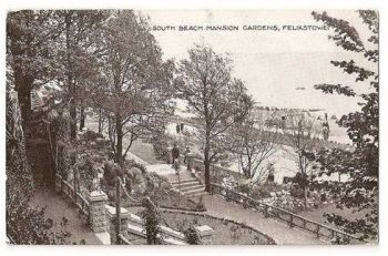 England: Suffolk. Felixstowe, South Beach Mansion Gardens - 1920/30s Postcard