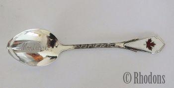 Montreal, Canada Vintage Souvenir Silver and Enamel Spoon