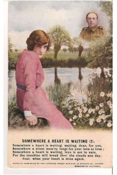 WWI Bamforth Song Postcard- Somewhere A Heart Is Waiting (Card #2 of a Multi-card set)