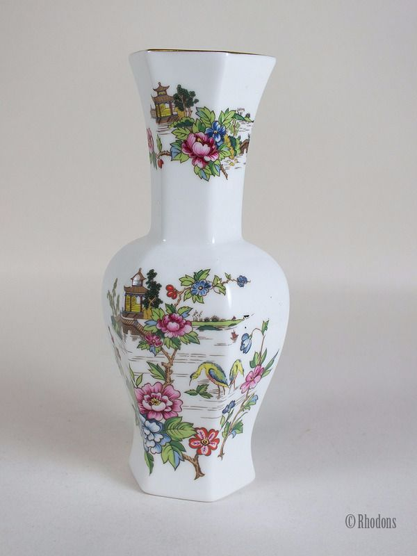 Crown Staffordshire Hexagonal Vase, Pagoda Pattern, Circa 1970s, 1980s