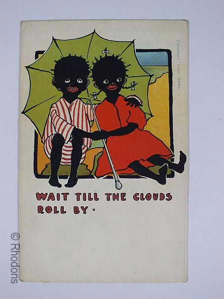Vintage Valentines Postcard, 'Wait Till The Clouds Roll By', Early 1900s Black Americana