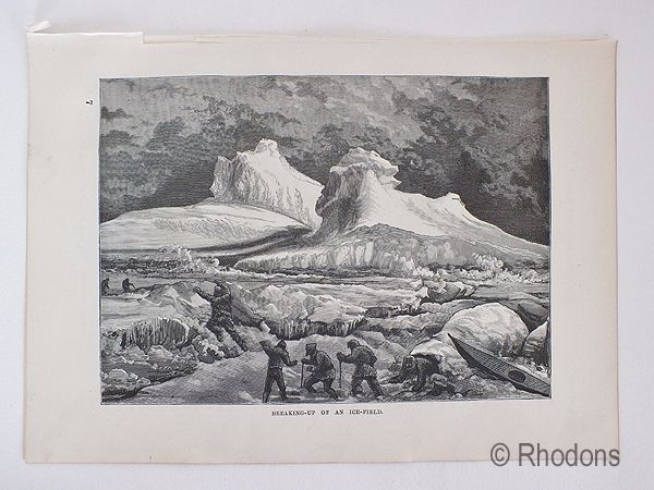 19th Century Arctic Region Print, Breaking Up An Ice Field
