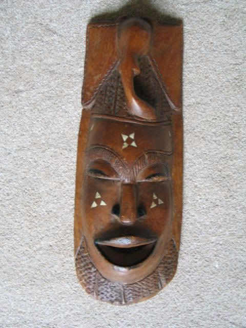 African Tribal Face Mask, Carved Elephant