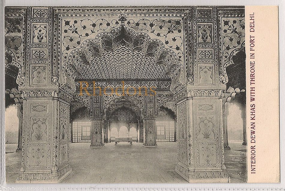 India: Dewan Khas Interior With Throne, Fort Delhi, Early 1900s Postcard