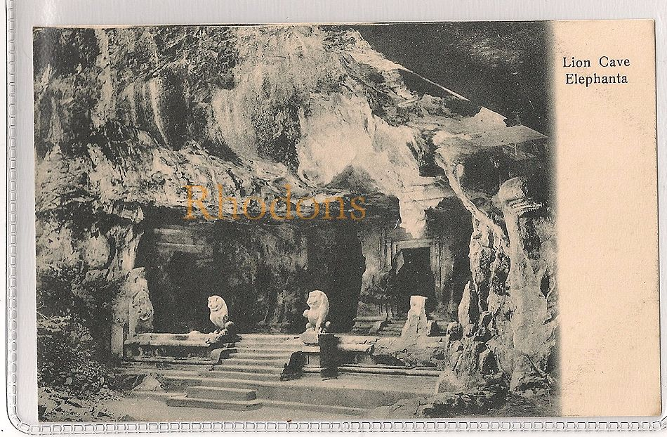 India: Lion Cave Elephanta, Early 1900s Postcard