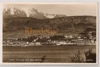 Scotland: Inverness-shire, Fort William & Ben Nevis, Mid 1900s Real Photo Postcard