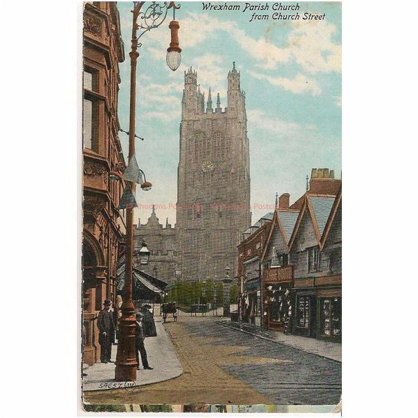 Wrexham Wales: Parish Church From Church Street. Early 1900s Postcard
