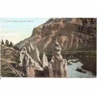 Canada:  Alberta, Natural Pillars View, Banff. Early 1900s Postcard