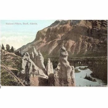 Canada:  Alberta, Natural Pillars View, Banff. Early 1900s Postcard
