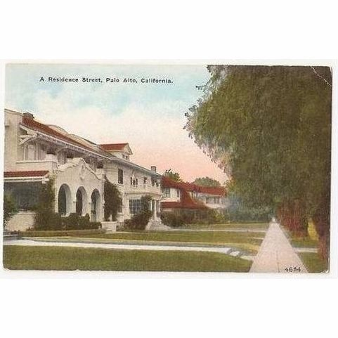 USA: California, Residence Street In Palo Alto, Early 1900s  Postcard