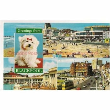 Lancashire: Blackpool, Greetings From Blackpool, 1970s Multiview Postcard