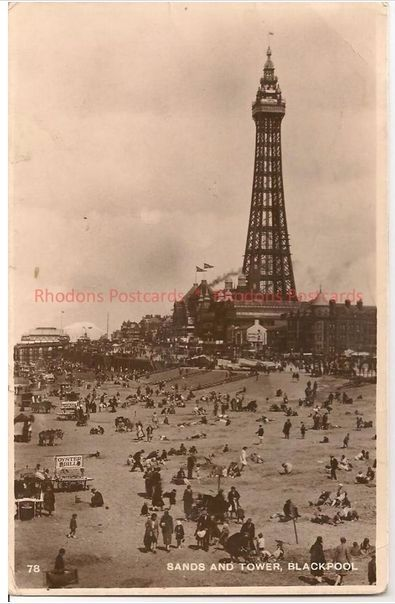 Lancashire: Blackpool Sands and Tower, 1930s RP Postcard