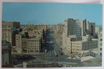 Canada: Manitoba, Elevated View Portage Ave, Winnipeg - 1950s/60s Postcard