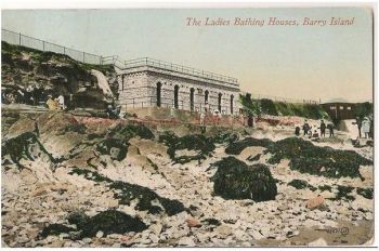 Wales: Barry Island, The Ladies Bathing Houses. Circa 1920s Postcard