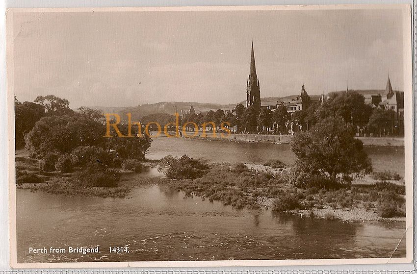 Scotland: Perthshire, Perth From Bridgend c1940s Real Photo Postcard