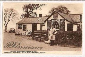 Scotland: Dumfriesshire. Gretna Green Famous Old Blacksmiths Shop, Signed Rennison, 1930s RP Postcard