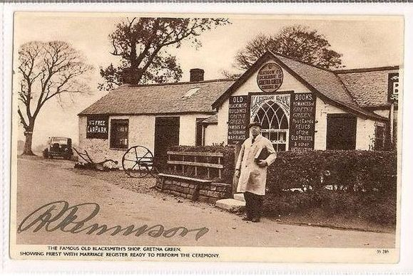 Scotland: Dumfriesshire. Gretna Green Famous Old Blacksmiths Shop, Signed Rennison, 1930s RP Postcard