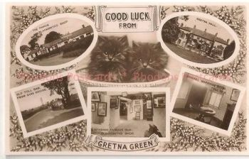 Scotland: Dumfriesshire, Good Luck From Gretna Green Multiview Post Card, With Black Cats