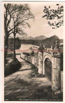 Scotland: Borders, Roxburghshire, Eildon Hills & Dryburgh Orchard Gates. RP Postcard