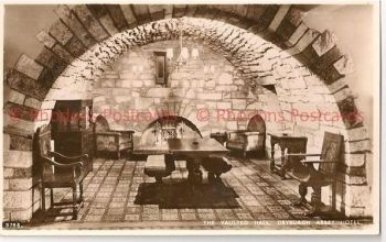 Scotland: Borders, Roxburghshire. Vaulted Hall Dryburgh Abbey Hotel RP Postcard