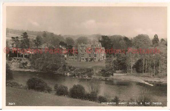 Scotland: Borders, Roxburghshire, Dryburgh Abbey Hotel & River Tweed Postcard