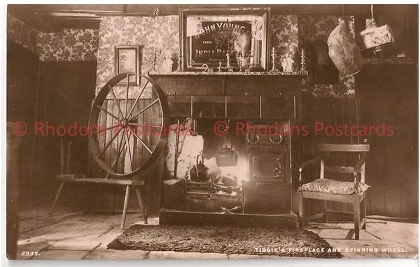 Scotland: Borders, Selkirkshire. Tibbie Shiels Inn Fireplace & Spinning Wheel. 1930s RP Postcard