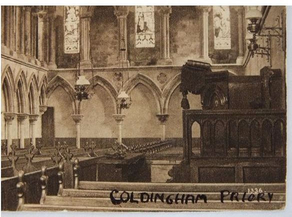 Scotland: Berwickshire. Coldingham Priory Interior View Postcard